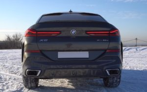 БМВ Х6 2020 чёрный вид сзади