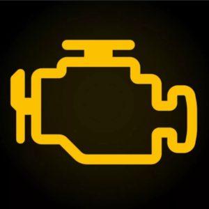 Значок повреждения двигателя на панели приборов