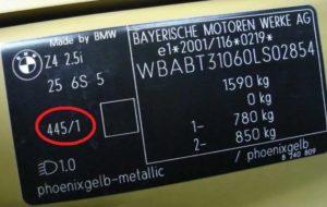 Код краски на автомобиле BMW