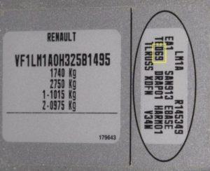 Код краски на автомобиле Renault